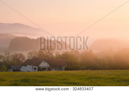 House Surrounded By Gardens In Abramova Village In Turiec Region, Slovakia.