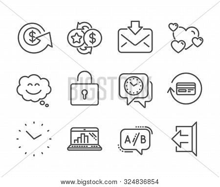 Set Of Technology Icons, Such As Loyalty Points, Sign Out, Dollar Exchange, Smile Chat, Graph Laptop