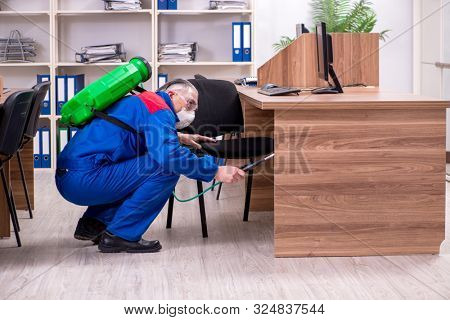 Old professional contractor doing pest control in the office