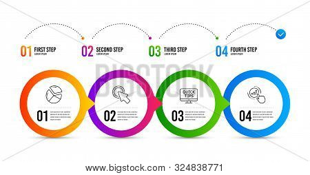 Click Here, Pie Chart And Web Tutorials Line Icons Set. Timeline Infographic. Graph Chart Sign. Push
