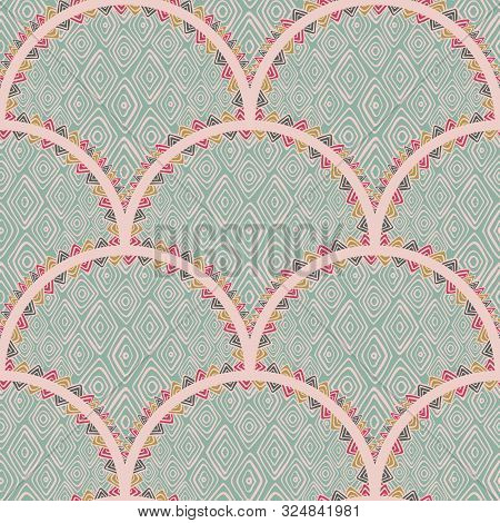 Boho Fish Scales Squama Background With Diamond Shape Texture Vector Seamless Fabric Pattern, Tiled