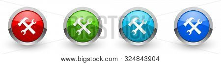 Tool silver metallic glossy icons, set of modern design service buttons for web, internet and mobile applications in four colors options isolated on white background