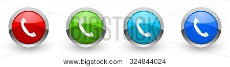 Phone silver metallic glossy icons, set of modern design call buttons for web, internet and mobile applications in four colors options isolated on white background
