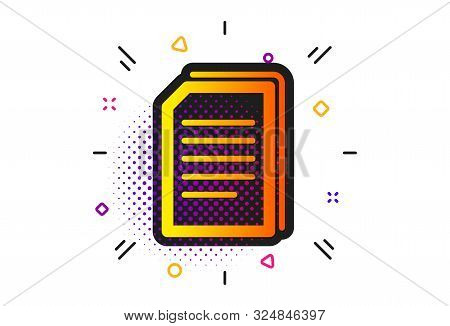 Copying Files Sign. Halftone Circles Pattern. Copy Documents Icon. Paper Page Concept Symbol. Classi