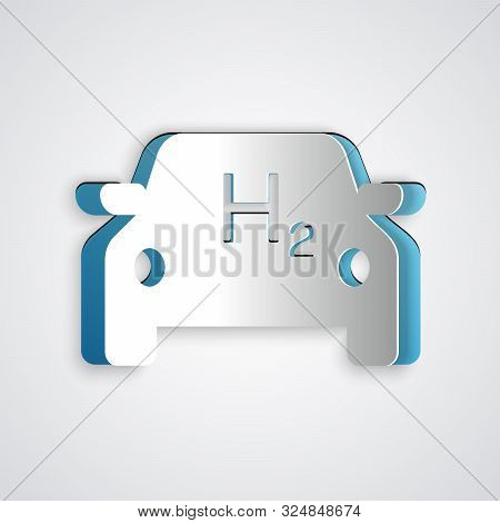 Paper Cut Hydrogen Car Icon Isolated On Grey Background. H2 Station Sign. Hydrogen Fuel Cell Car Eco