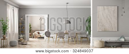 Modern Interior Of Apartment, Dining Roomwith Table And Chairs, Living Room With Sofa, Hall Panorama