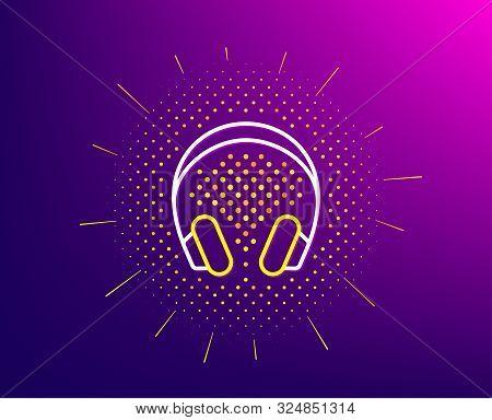 Headphones Line Icon. Halftone Pattern. Music Listening Device Sign. Dj Or Audio Symbol. Gradient Ba