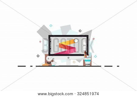 Flat Design Style Modern Vector Illustration. A Set Of Graphic Design Elements And Tools, Office Var