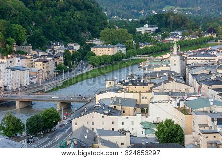 Salzburg Historic Center And Old Town From The Kapuzinerberg Hill