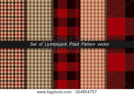 Set Of Lumberjack Plaid Pattern. Lumberjack Plaid And Buffalo Check Patterns. Lumberjack Plaid Tarta
