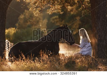 Portrait Of Beautiful Young Woman With Blond Hair Sitting In Front Of Lying Horse And Feed It From H