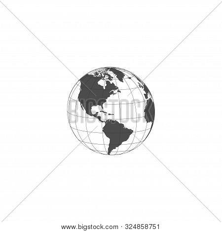 Earth Globe Cartographic Design. Earth Globe Icon Isolated On White Background. Earth Globe Map. Vec