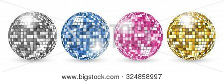Disco Ball. Party Mirror Balls Set. Night Club Shining Decoration Vector. Illustration Mirror Bright