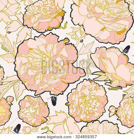 Vector White Romantic Elegant Festive Peony Botanical Pattern, Modern Peony Blossom In Pastel Tones.