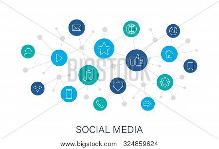 Concept Social Media Web Icons In Line Style. Contact, Digital, Social Networks, Technology, Website
