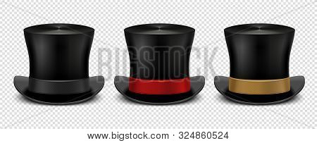 Realistic Top Hat. Magic Hat Vector. Vintage Black Gentleman Headwears Isolated On Transparent Backg