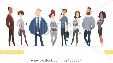 Collection Of Charming Young Entrepreneurs Or Businessmen And Managers. Business People Standing Tog
