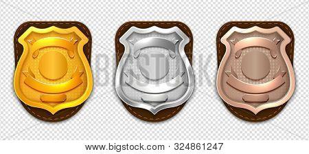 Realistic Police Badges. Security Silver Gold Bronze Badges Vector Mockup. Badge Metal Sheriff Emble