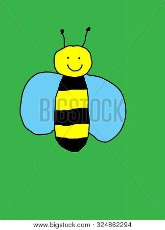 Happy Cartoon Bumblebee In Flight