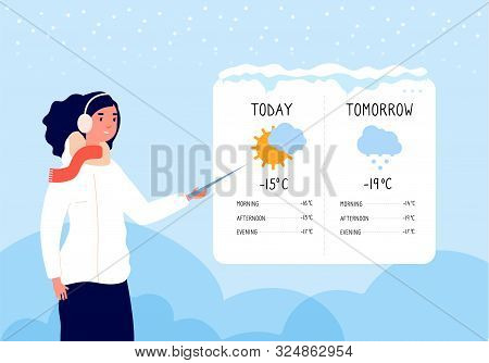 Winter Weather Forecast. Woman Forecasting Sunny And Snowy Day In Tv News Vector Concept. Illustrati