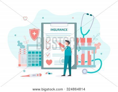 Man Fills Out Health Insurance. Health Insurance Concept With Tiny People. Flat Vector Illustration.