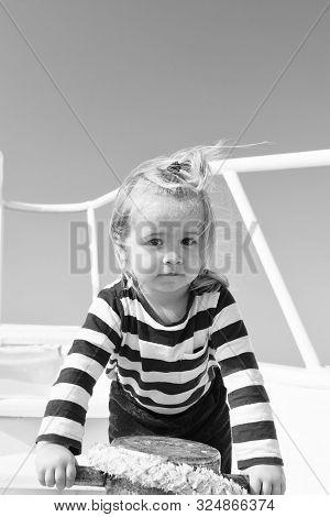 Baby Boy Enjoy Vacation Sea Cruise Ship. Child Sailor. Boy Sailor Travelling Sea. Boy Sailor Striped
