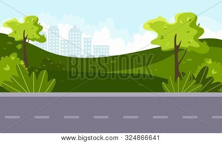 Vector Flat Illustration Of Green Landscape With Trees And Shrubs, Blue Sky, Country Road And City I