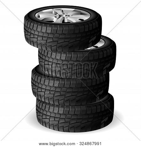 Winter Tire Stack. Tyre Repair Shop. Auto Wheel Vector Illustration. Realistic Automobile Rubber 3d