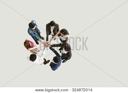 Top View Of Business People Standing With Their Hands Together In A Huddle Stack Hand Teamwork Assem