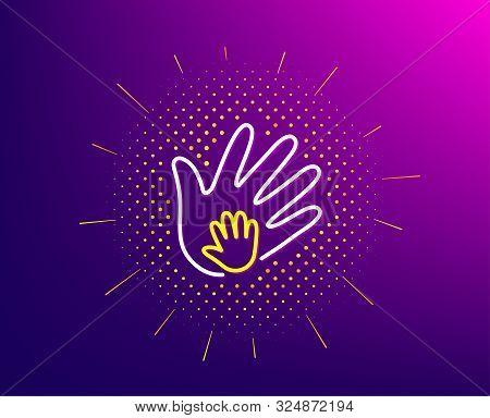 Hand Line Icon. Halftone Pattern. Social Responsibility Sign. Honesty, Collaboration Symbol. Gradien