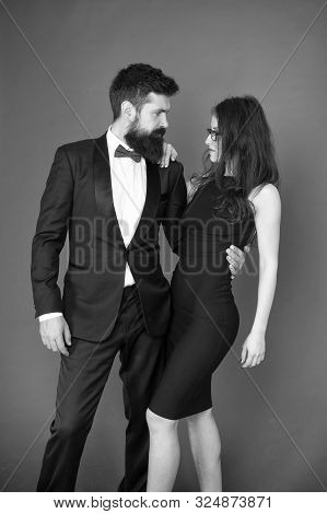 Formal party. love and romance. art experts of bearded man and woman. esthete. Romantic relations. Couple in love on date. Formal couple. fall in love. love desire of stylish couple. Special evening. poster