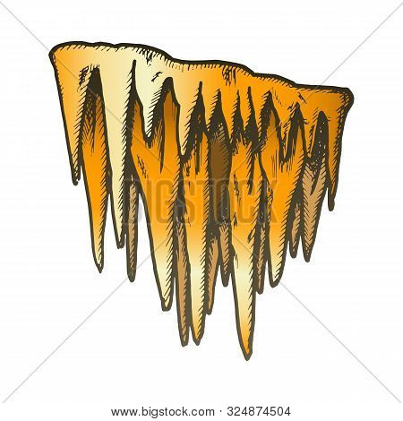 Icicle Stalactite Frost Element Color Vector. Glacial Subfreezing Weather, Vertical Icy Stalactite.