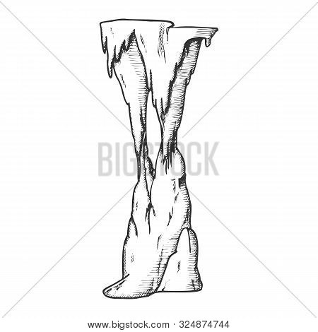 Stalactite Decorative Tunnel Element Ink Vector. Standing Stalactite And Stalagmite. Natural Attract
