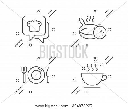 Frying Pan, Cooking Hat And Food Line Icons Set. Coffee Cup Sign. Cooking Timer, Chef, Restaurant. H