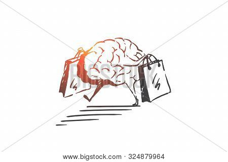 poster of Shopping addiction, consumerism problem concept sketch. Surreal shopaholic brain walking with paper bags, obsession with new purchases, sales, discounts metaphor. Hand drawn isolated vector