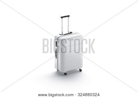 Blank White Suitcase With Handle Mockup Stand Isolated, 3d Rendering. Empty Travel Luggage For Airpl