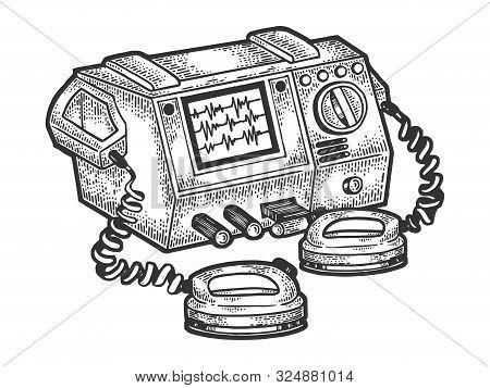Defibrillator Heart Cardiac Medical Electronic Device Sketch Engraving Vector Illustration. Medical