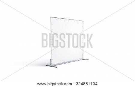 Blank White Press Wall Mock Up, Isolated, Side View, 3d Rendering. Empty Presentation Stand For Prom