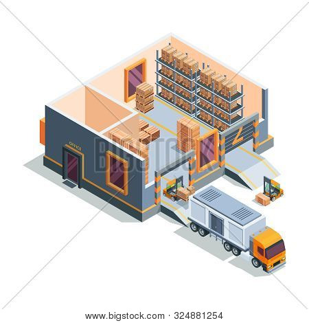 Warehouse Isometric. Big Storage House Machines Forklift Transportation And Loading Truck Warehouse
