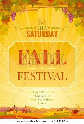 Autumn Party Poster. Fall Harvest Festival Invitation Design. Winemaking Banner, Europian Landscape