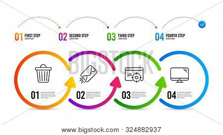 Computer Sign. Infographics Timeline. E-mail, Trash Bin And Seo Targeting Line Icons Set. Mail Deliv