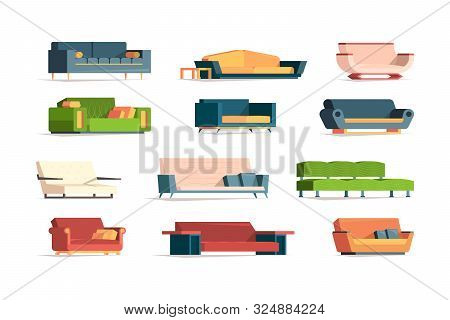 Soft Furniture. Divan Fabric Couch Simple Set Front View Interior Furniture Armchairs Vector Flat Pi