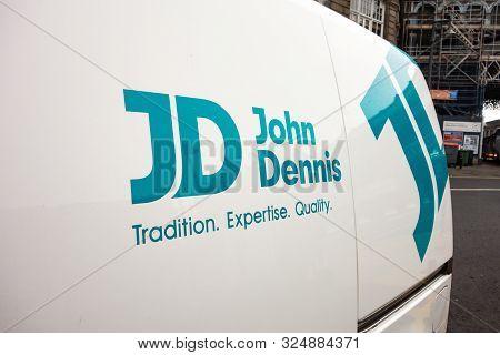 Edinburgh, United Kingdom - July 29, 2019: The Logo Of The Scottish Construction Company John Dennis