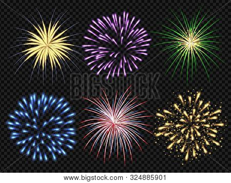 Fireworks Explosion. Birthday Party Big Bang Festive Sparkling Vector Realistic Fireworks Collection