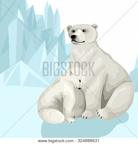White Polar Bear With Baby Cub. Sit On The Snow Among The Mountains Of Ice. Vector Print Card Design