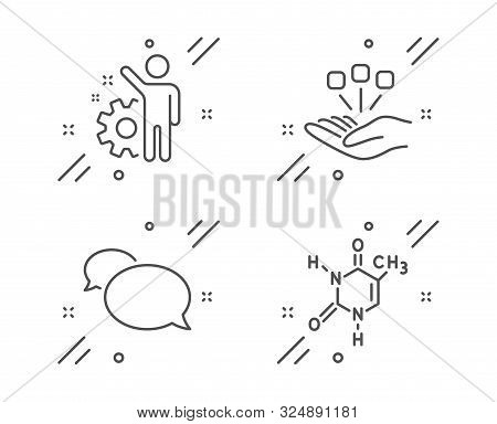 Consolidation, Employee And Messenger Line Icons Set. Chemical Formula Sign. Strategy, Cogwheel, Spe