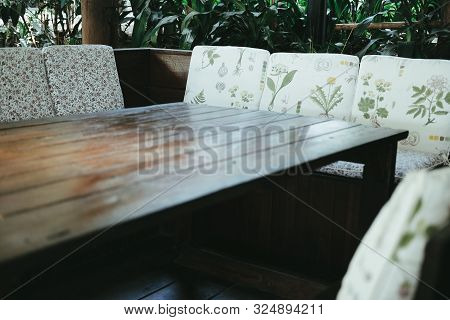 Table & Chair In Living Room In Garden. Home Interior