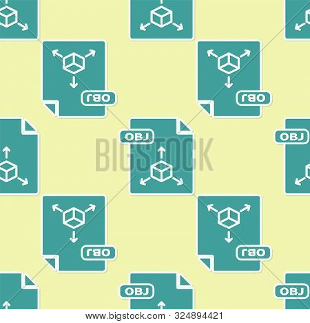 Green Obj File Document. Download Obj Button Icon Isolated Seamless Pattern On Yellow Background. Ob