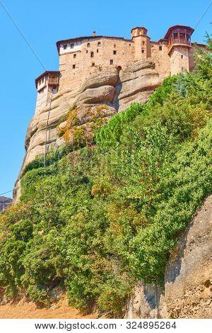 The Monastery of Rousanou (St. Barbara) on the cliff in Meteora, Kalabaka, Greece