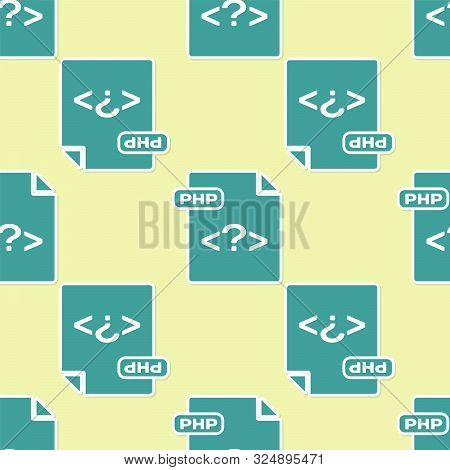 Green Php File Document. Download Php Button Icon Isolated Seamless Pattern On Yellow Background. Ph